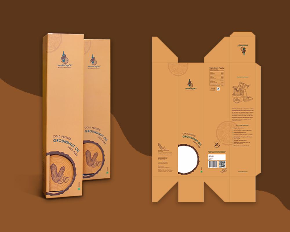 HealthOrgOil Groundnut oil Label design Packaging design Pune